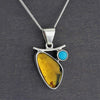turquoise and amber pendant necklace