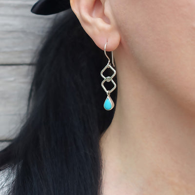 Turquoise and Taxco Silver Drop Earrings