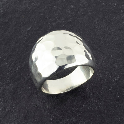 wide Taxco hammered sterling silver ring