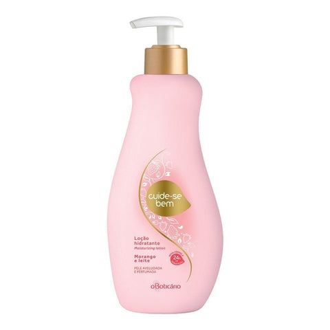 O Boticario Cuide-se Bem Moisturizing Lotion - Strawberry & Milk - 400ml/13.5oz - Bom Dia Beauty