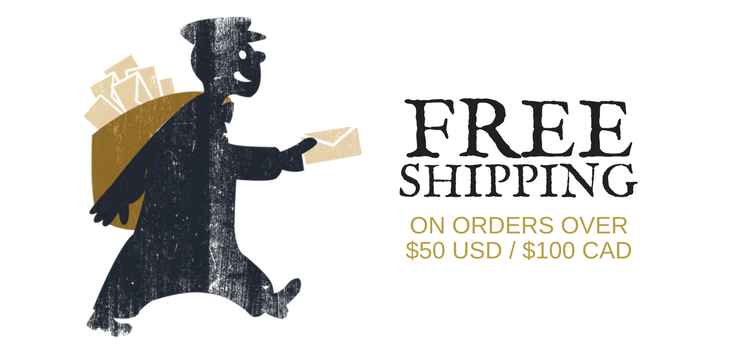 FREE SHIPPING ON ORDERS OVER $50USD OR $100CAD