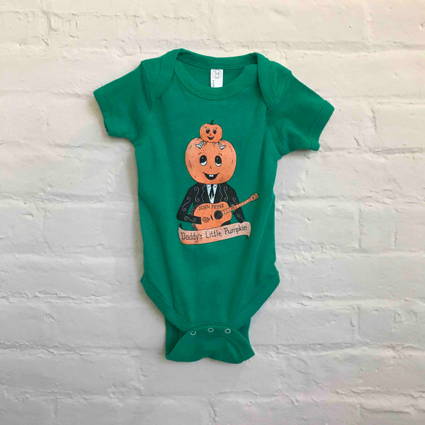 "John Prine ""Daddy's Little Pumpkin"" Green Baby Onesie - OH BOY RECORDS"
