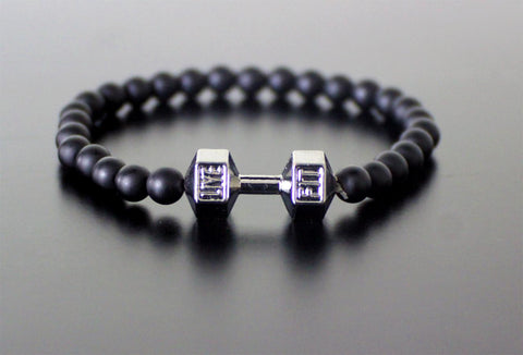 "Black Matte Beaded ""Live Fit"" Dumbbell Bracelet"