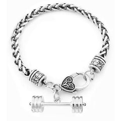 Rhodium Plated Wheat Link Dumbbell Charm Bracelet