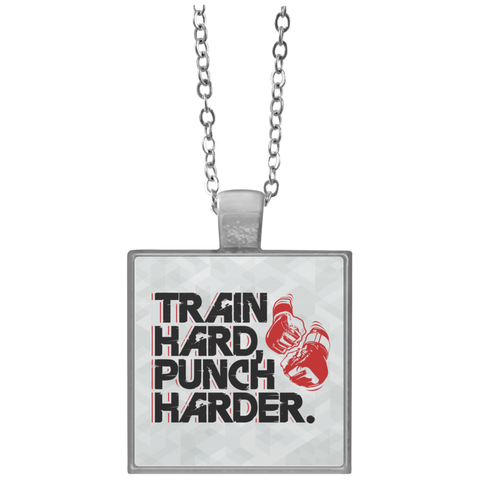 """Train Hard Punch Harder"" Square Necklace"