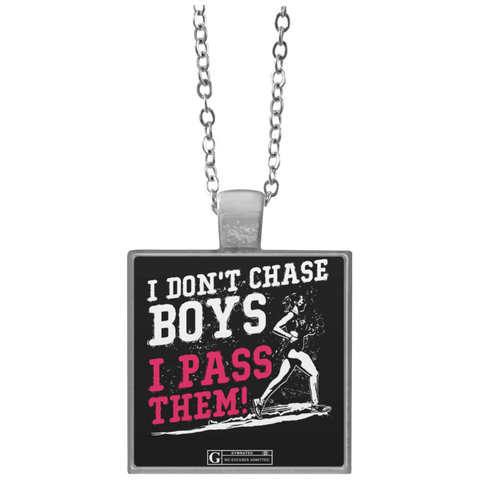 """I Don't Chase Boys"" Square Pendant Necklaces"