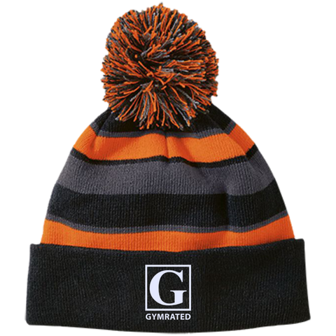 Official GYMRATED™ Brand Striped Beanie with Pom