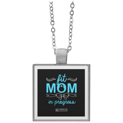 """Fit Mom In Progress"" Square Pendant Necklaces"