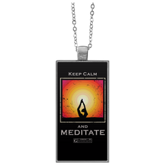 """Keep Calm and Meditate"" Rectangular Necklace"