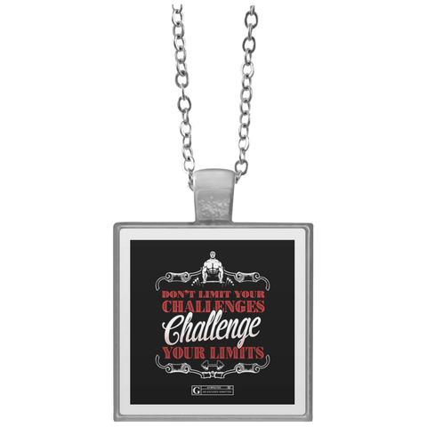 """Challenge Your Limits"" Square Pendant Necklaces"