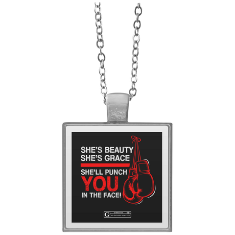 """She'll Punch You In The Face"" Square Pendant Necklaces"