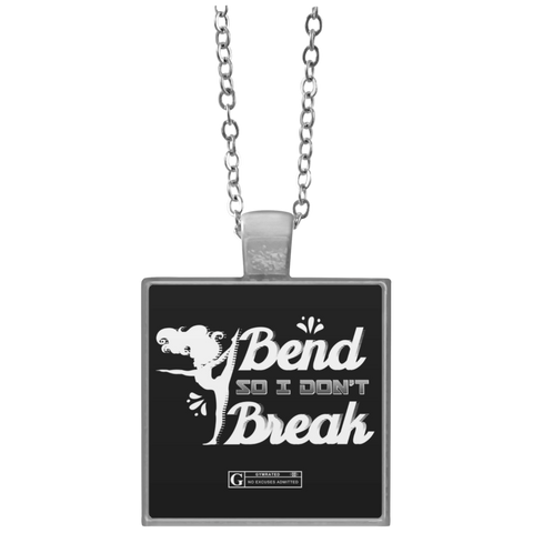 """I Bend So I Don't Break"" Square Pendant Necklaces"