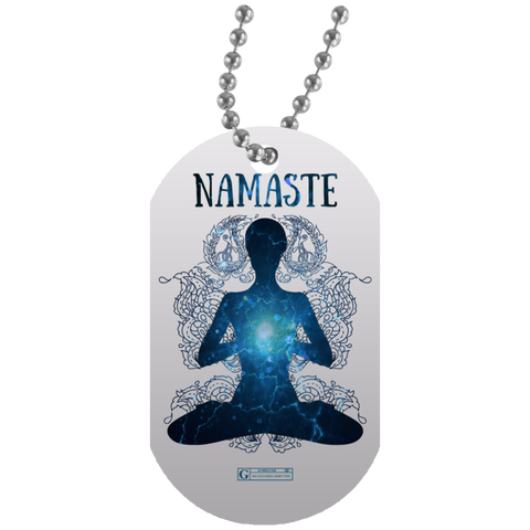 """Namaste"" Dog Tags for Yoga Lovers"