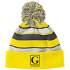 Image of Official GYMRATED™ Brand Striped Beanie with Pom