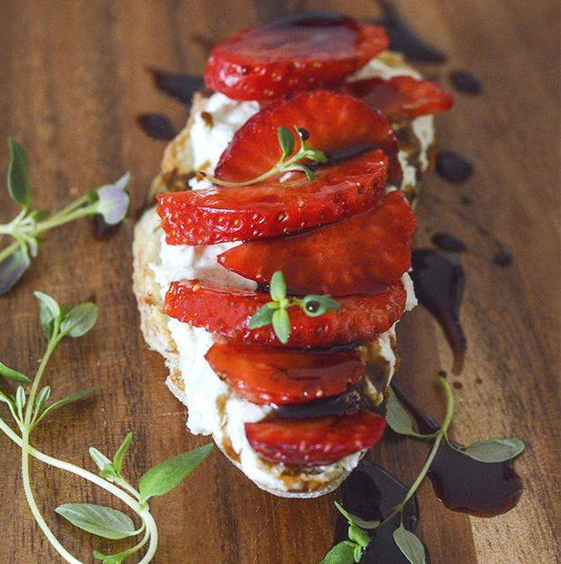 Strawberry and Goat Cheese Crostini with Organic Balsamic of Monticello