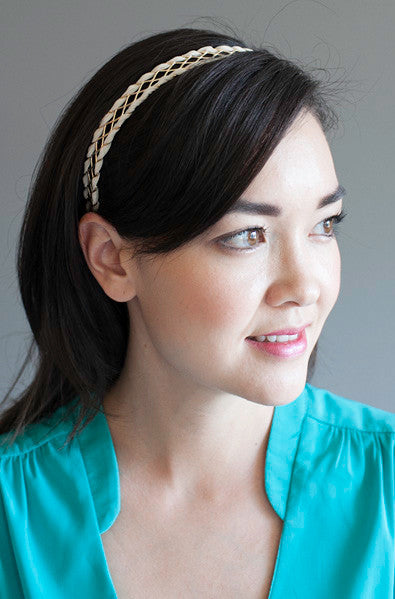 Asian style gold and beige headband