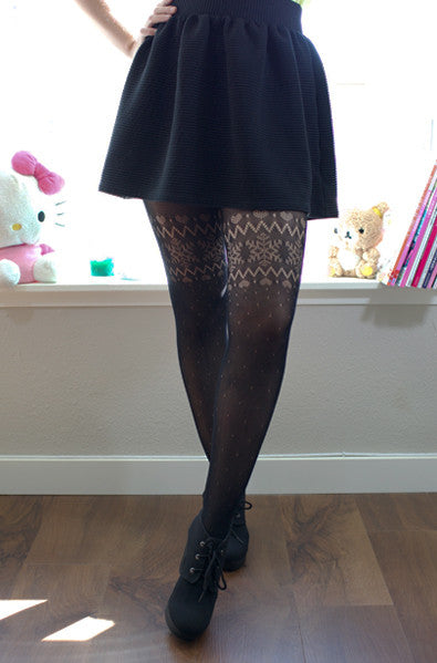 Asian style knit winter tights