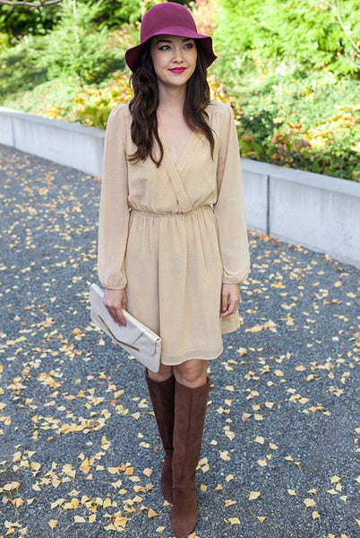 beige and burnt orange flowy dress