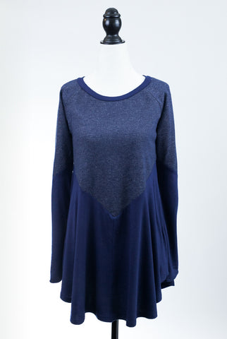 Swing On By Long Sleeve Tunic in Blue