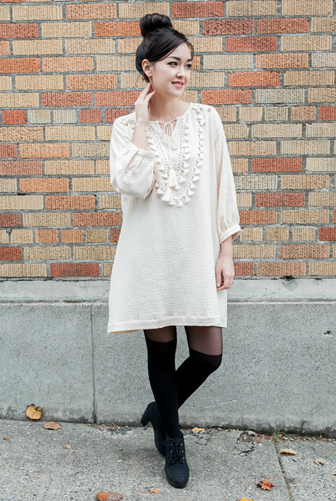 cream shift dress