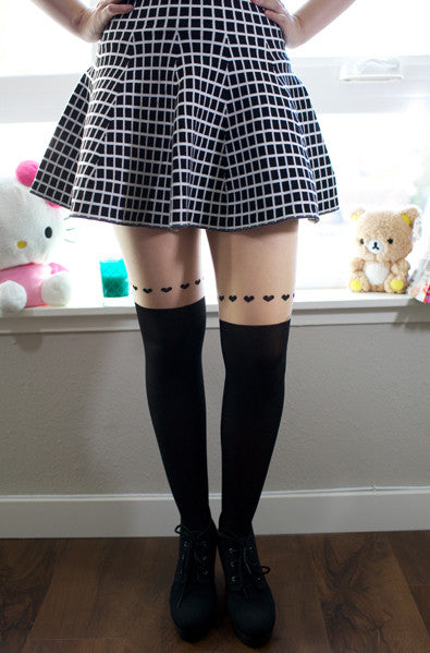 Cute heart trim tights