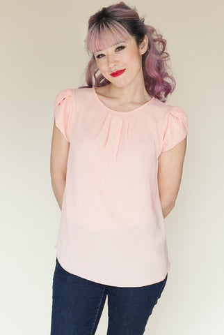 Pretty In Pink Petal Sleeve Blouse