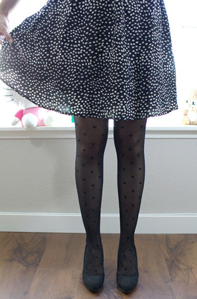 Cute sheer black heart tights