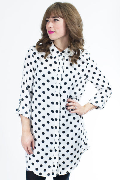cute work fashion tunic with polka dots