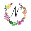 Watercolor monogram design letter N