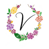 Watercolor monogram design letter V