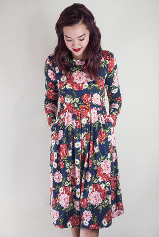 In Full Bloom Floral Midi Dress with Pockets