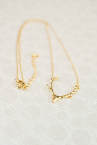 Be A Deer Antler Necklace in Gold
