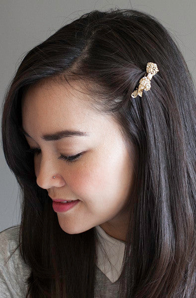 Korean fashion gold bow hair clip