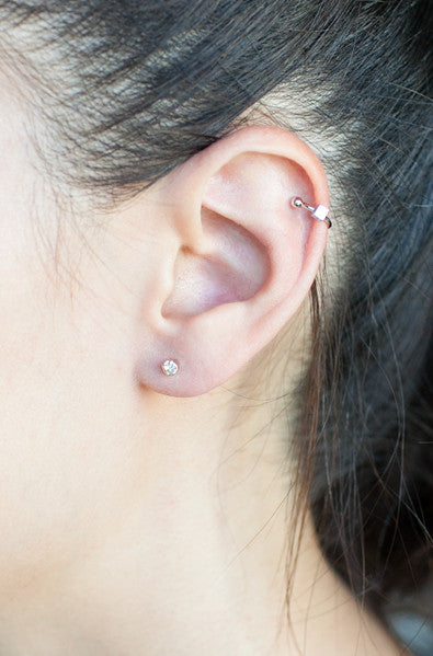 Korean fashion silver ear cuff and stud