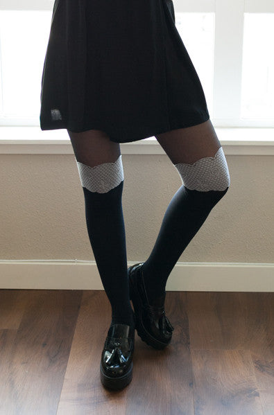 Korean style black tights with rose trim
