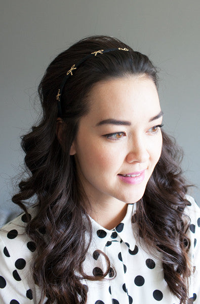Korean style gold headband with bows