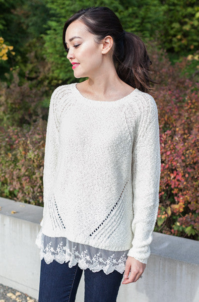 pretty knit sweater with lace trim