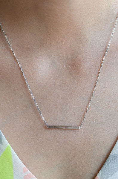 Matte silver bar necklace