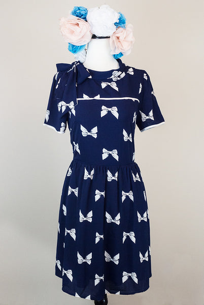 Navy bow cutout dress