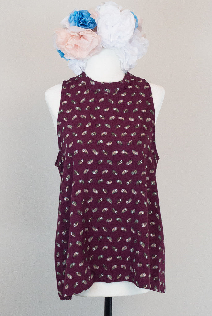 Owl print oxblood blouse