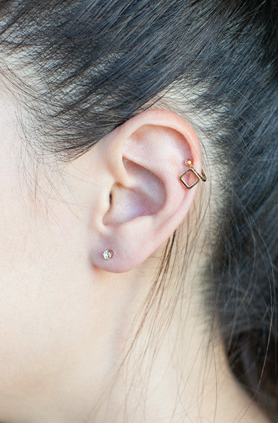 Square ear cuff and stud set