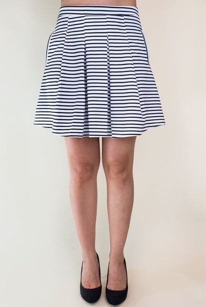 black and white stripe aline skirt