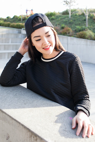 black cropped sweater contrast trim