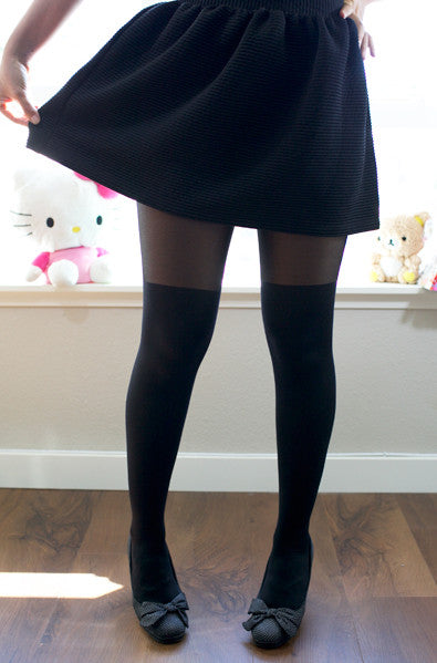 black knee sock tights