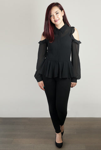Sheer Desire Black Cold Shoulder Peplum Blouse