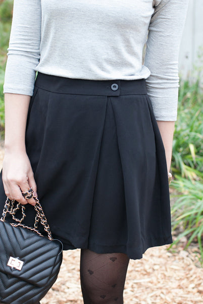 black skirt wrap front