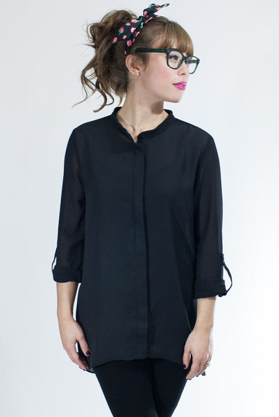 black semi sheer tunic