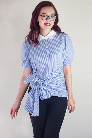 Stripe It Lucky Bow Belt Blouse