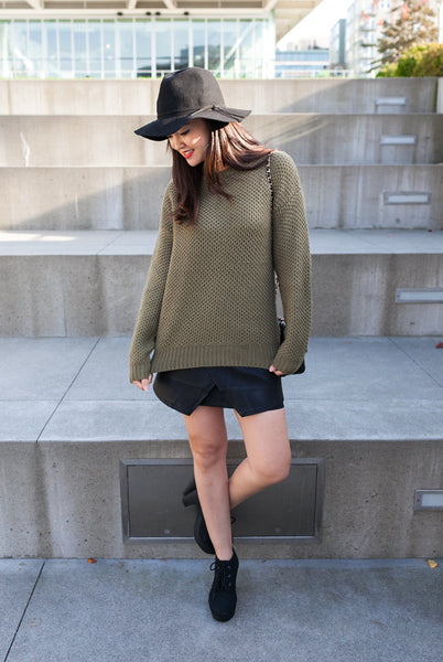comfortable olive green knit sweater