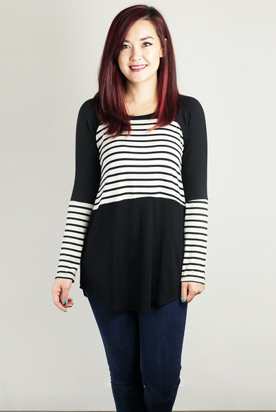 Black and white color block tunic